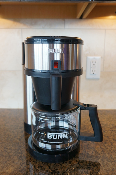 The BUNN Velocity Brew NHS is a reservoir-style automatic drip brewer.