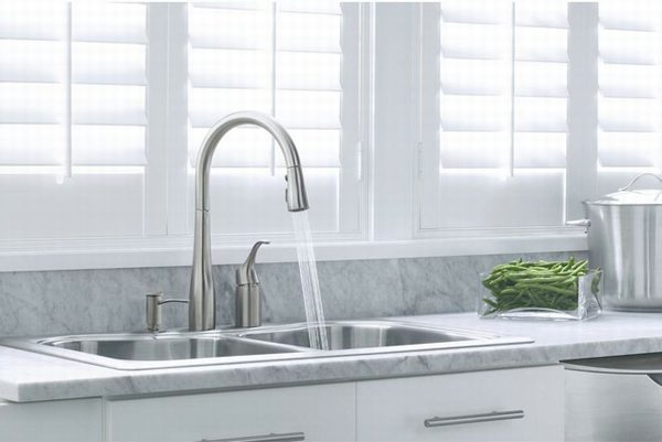 The Kohler Simplice faucet with pull-down sprayhead.
