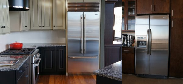 A built-in refrigerator compared to a freestanding one.