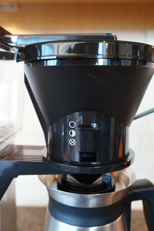 The Moccamaster has a brew basket with three manual settings allowing you to control water flow.