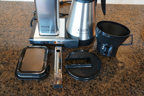 The Moccamaster has several parts to assemble before brewing. This access comes in handy for disassembly and cleaning.