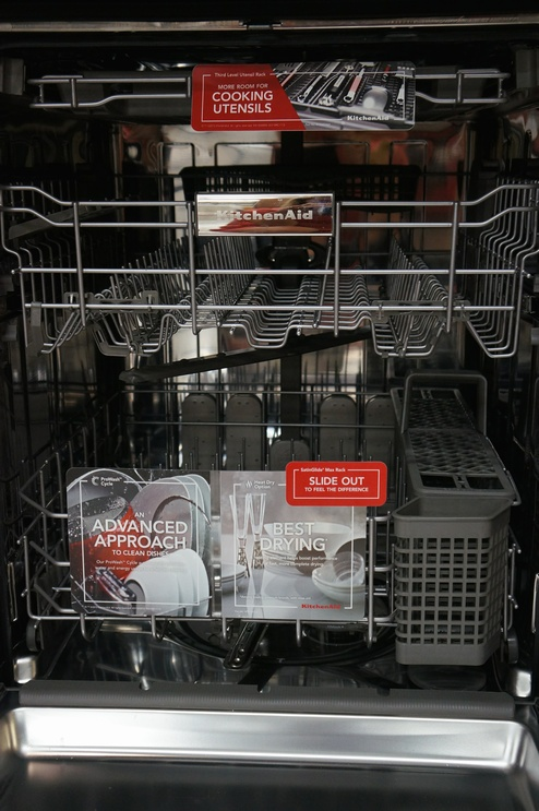 The KDTE334D dishwasher features a three-rack storage system.