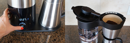 The OXO is easy to program and features a cone-shaped brew basket that uses a paper filter.